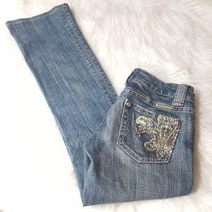 Miss Me Fleur De Lis Embellished Jeans Sz 25x28.5